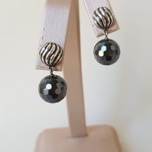 David Yurman Elements Hematite Drop Earrings